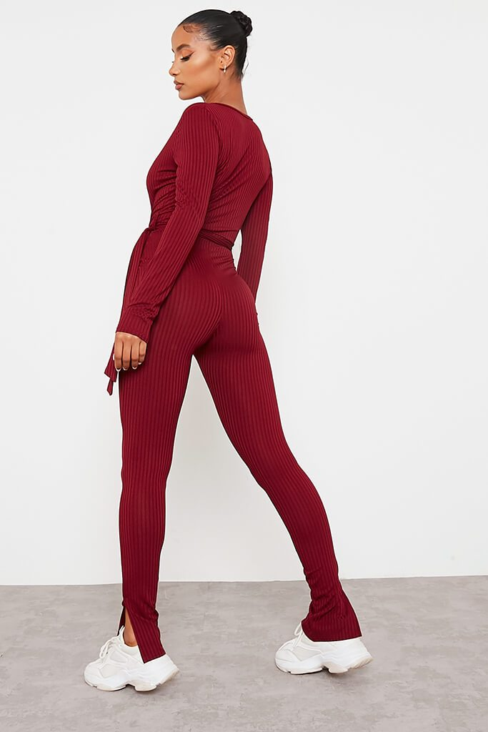 Burgundy Ribbed Wrap Front Split Hem Jumpsuit view 4