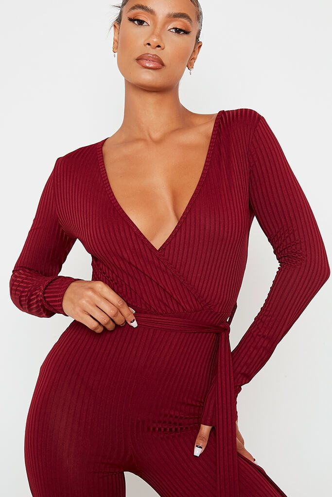 Burgundy Ribbed Wrap Front Split Hem Jumpsuit view 5