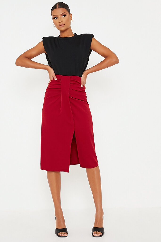 Burgundy Woven Front Wrap Midi Skirt view main view