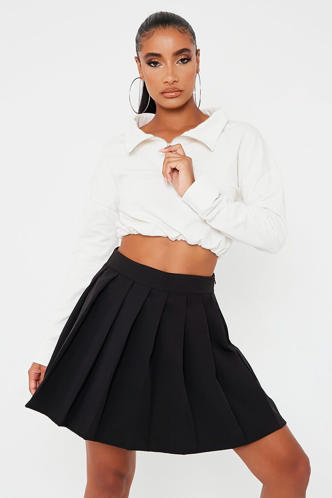 Black Pleated Tennis Skirt Skater I Saw It First