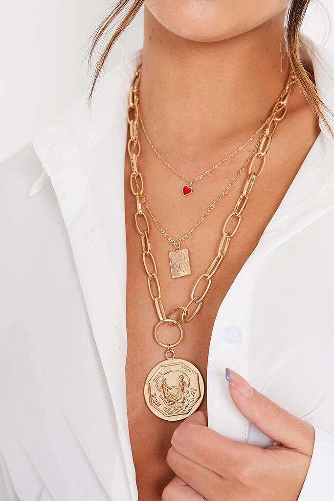 Gold Oversized Coin Layered Necklace