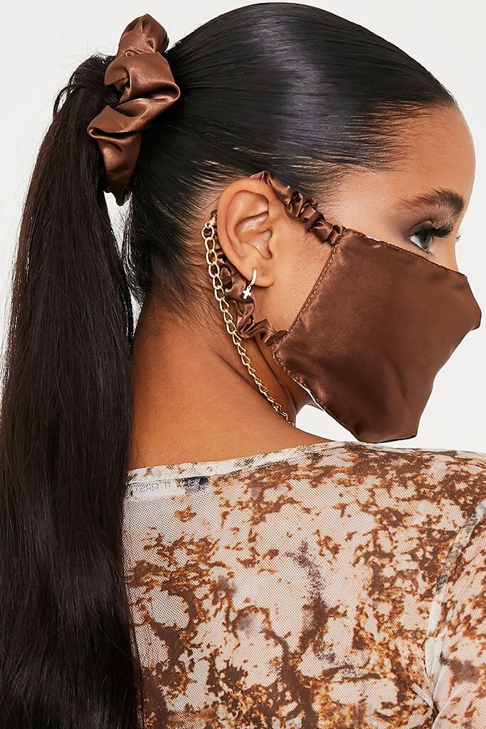 Rust Satin Scrunchie & Mask Set view main view