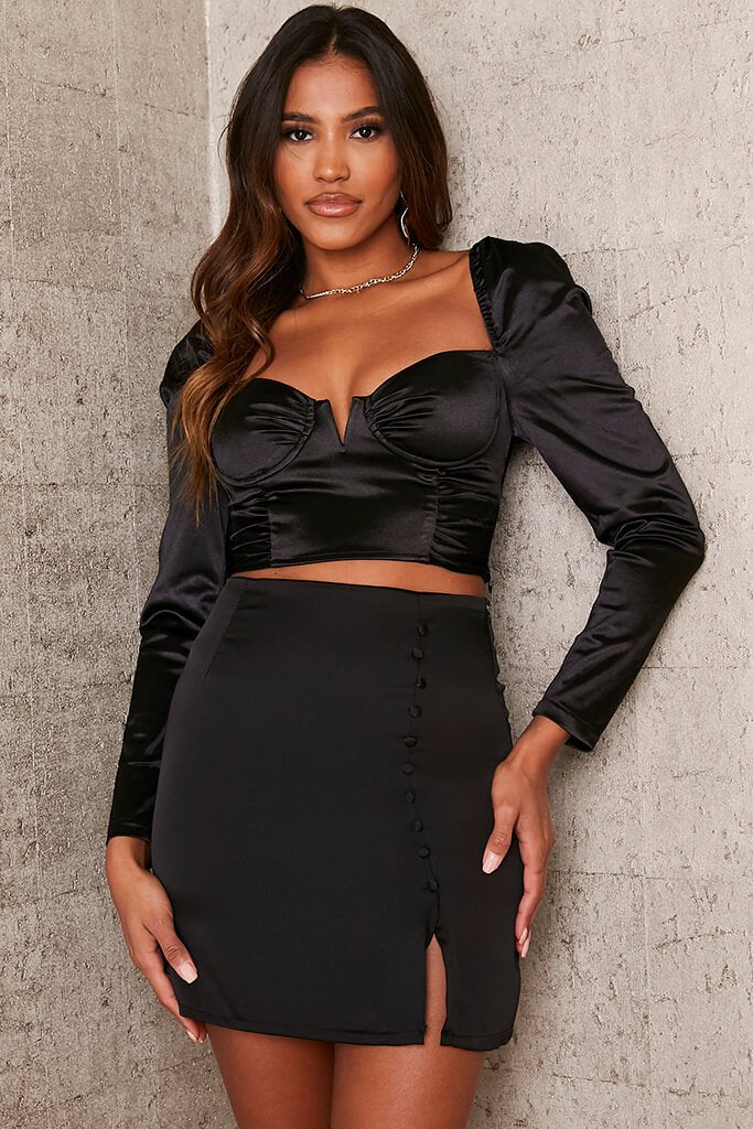 Black Front Split Buttoned Satin Mini Skirt view main view