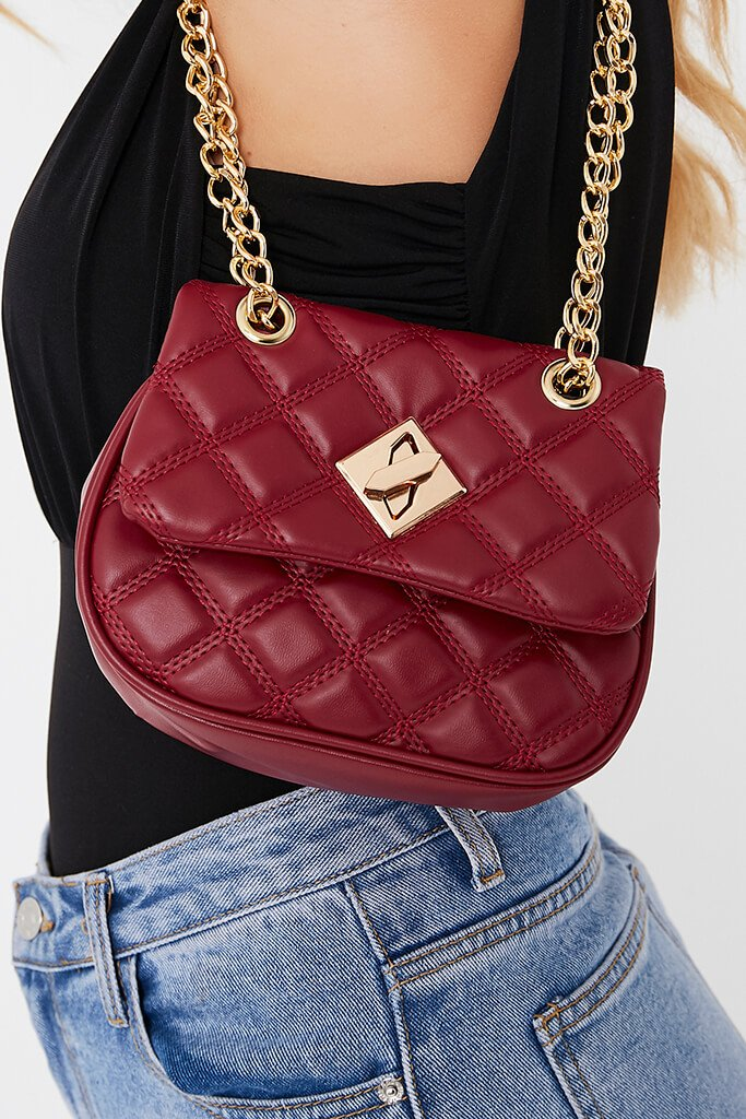Wine Quilted Padlock Crossbody view main view