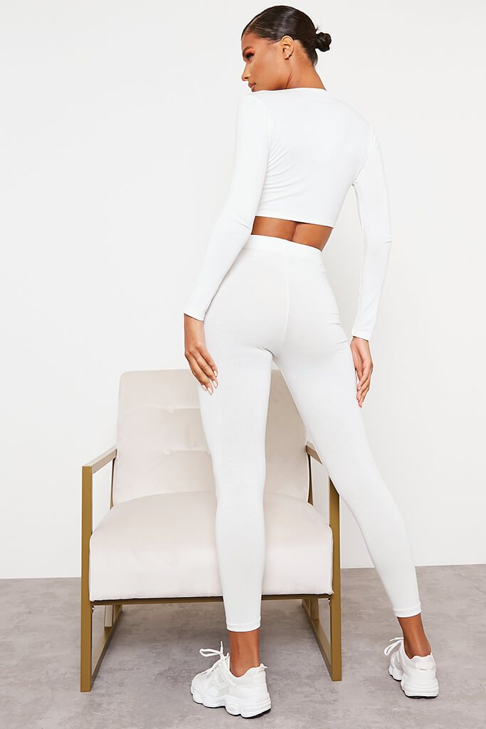 White Jersey Tie Front Long Sleeve Crop Top view 4