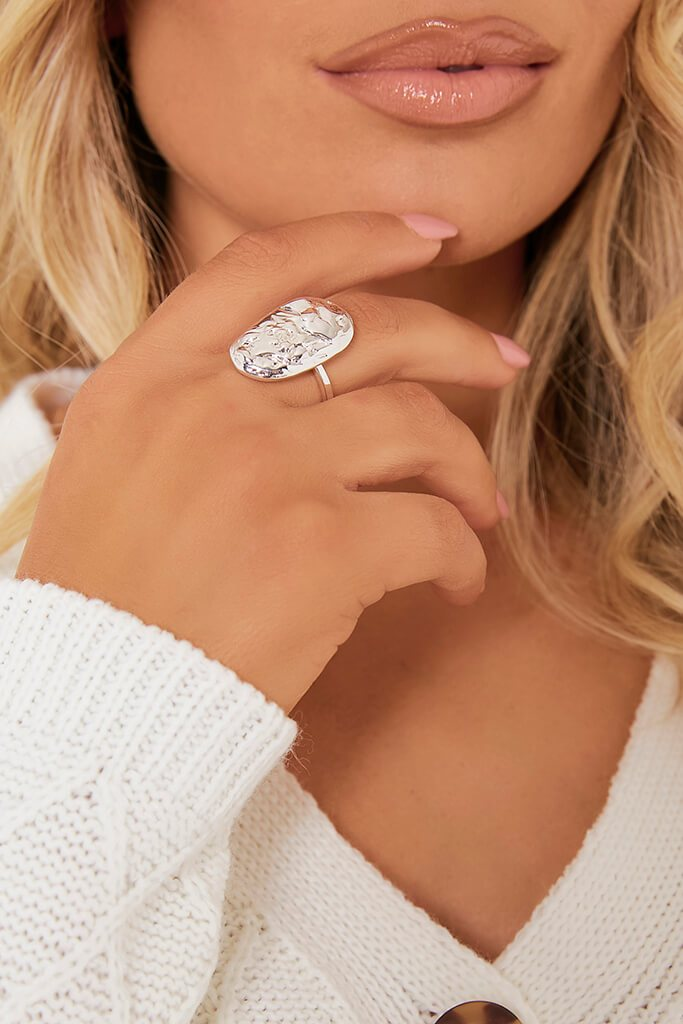 Silver Shaped Oversized Ring