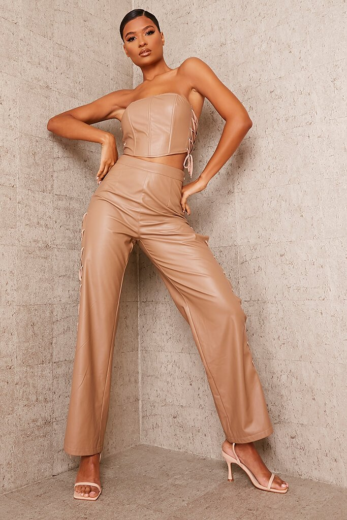 Brown Faux Leather Lace Up Detail Wide Leg Trouser view 2