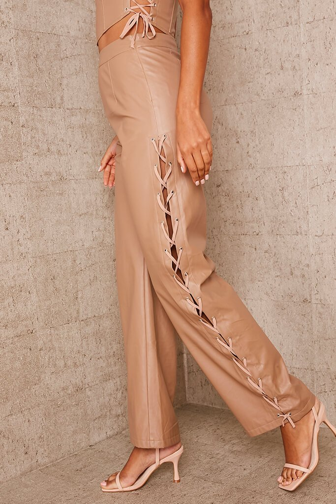 Brown Faux Leather Lace Up Detail Wide Leg Trouser view 4