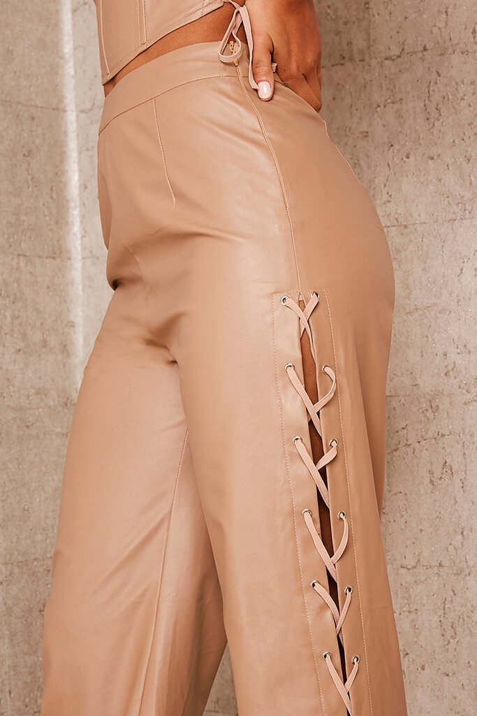 Brown Faux Leather Lace Up Detail Wide Leg Trouser view 5