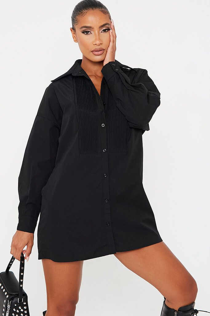Black Woven Rib Detail Shirt Dress
