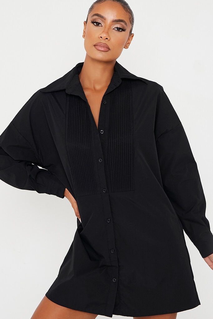Black Woven Rib Detail Shirt Dress view 5