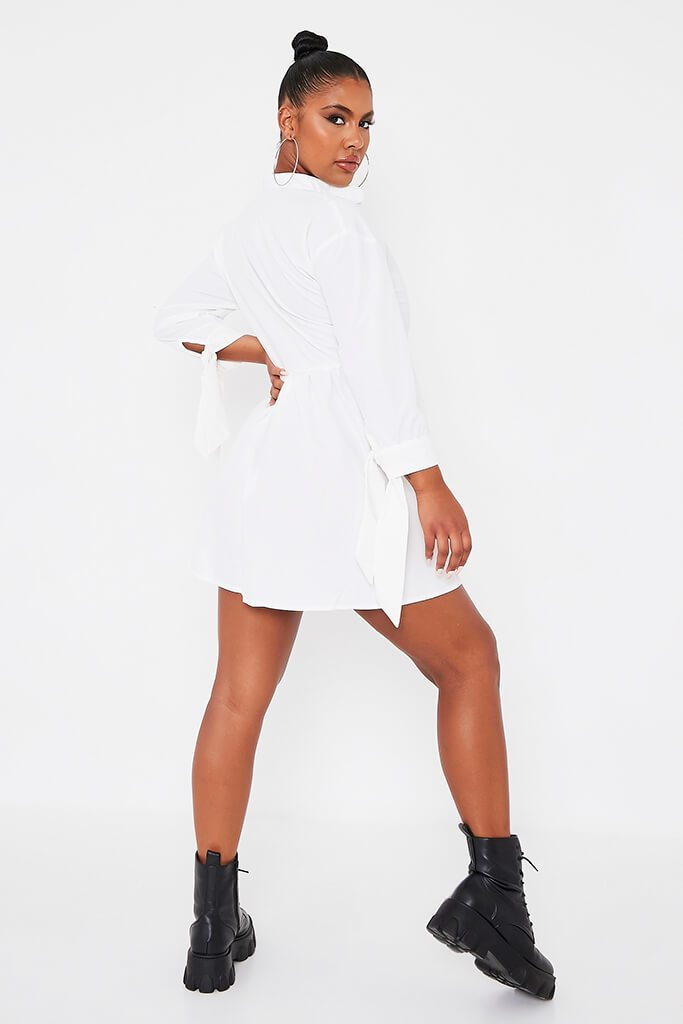 White Woven Button Front Tie Detail Smock Dress view 4