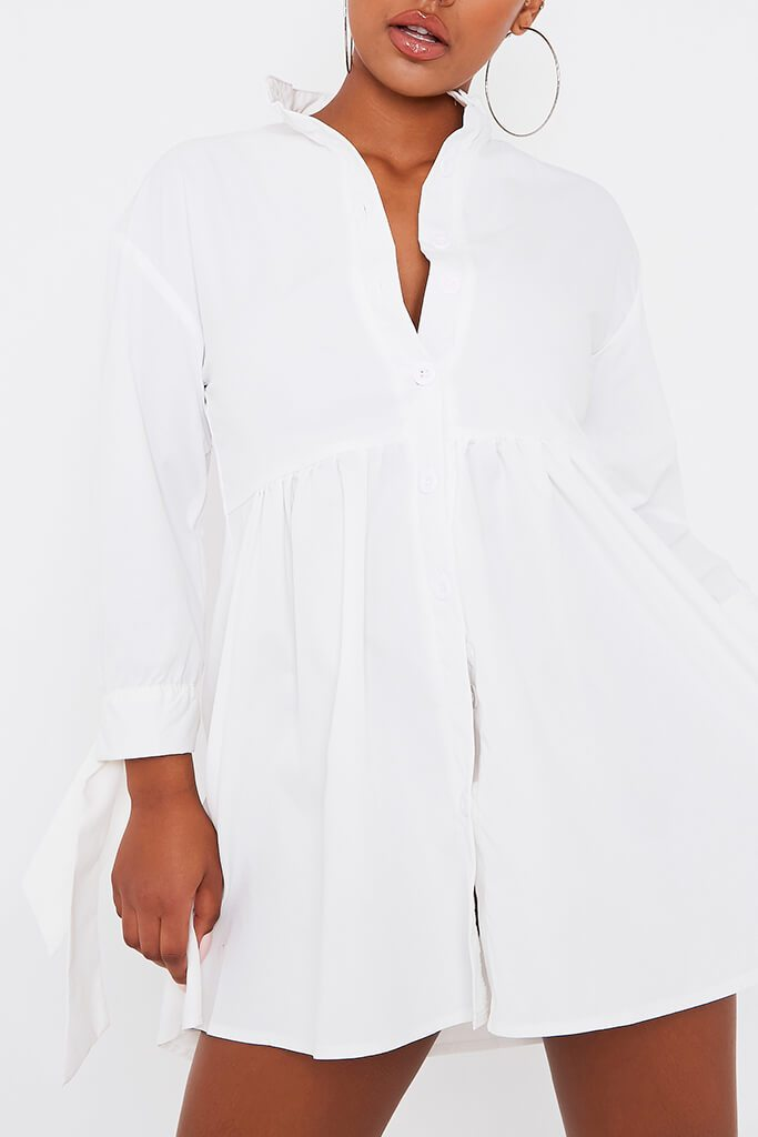 White Woven Button Front Tie Detail Smock Dress view 5