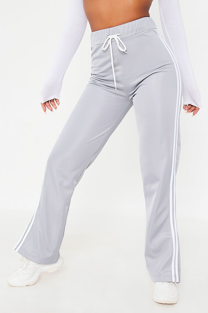 Light Grey Side White Striped Side Vent Wide Leg Joggers view 2