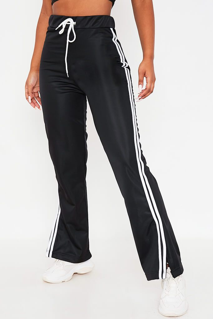 Black Side White Striped Side Vent Wide Leg Joggers view 4