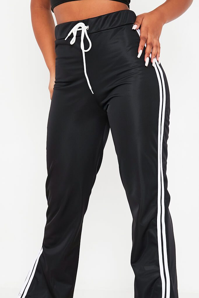 Black Side White Striped Side Vent Wide Leg Joggers view 5