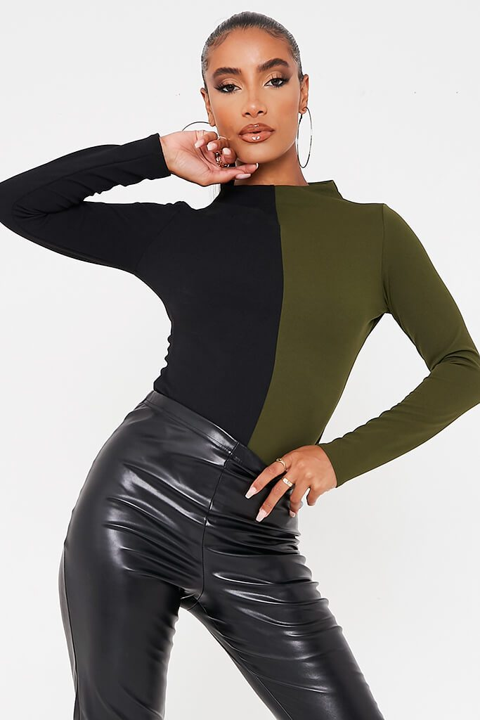 Olive Green Colour Block Long Sleeve Funnel Neck Bodysuit
