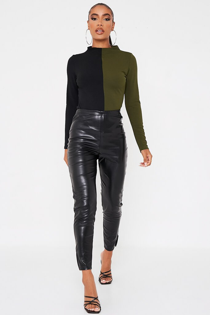 Olive Green Colour Block Long Sleeve Funnel Neck Bodysuit view 3