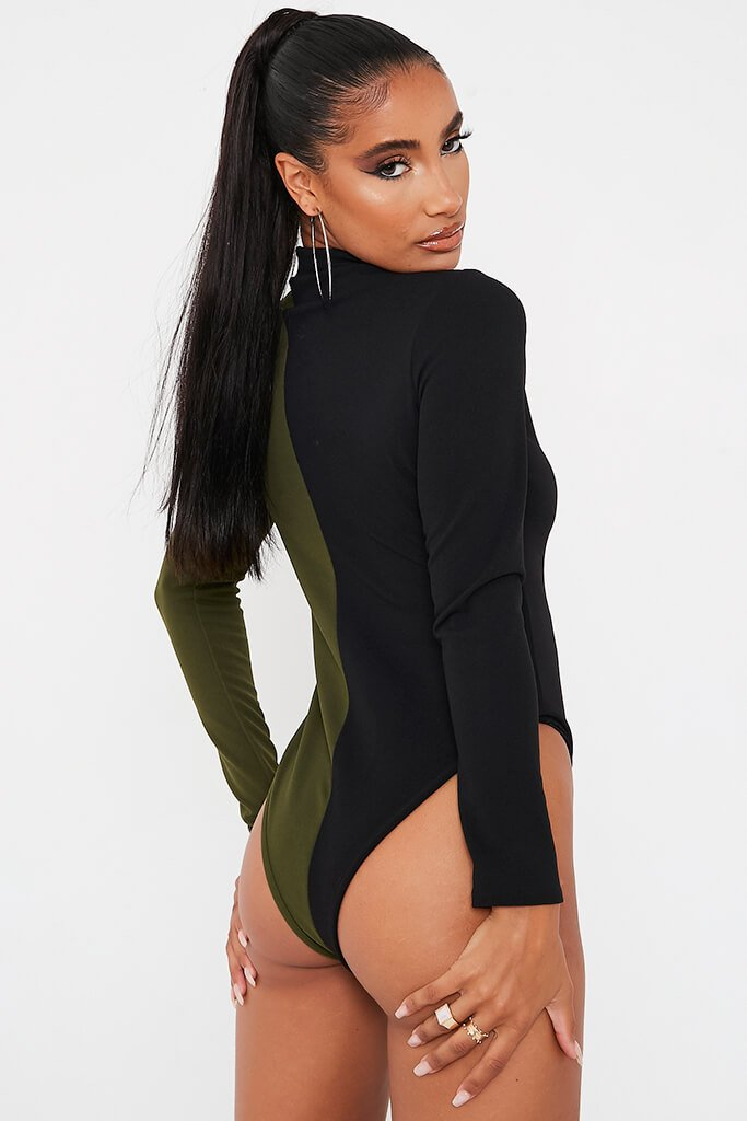 Olive Green Colour Block Long Sleeve Funnel Neck Bodysuit view 5