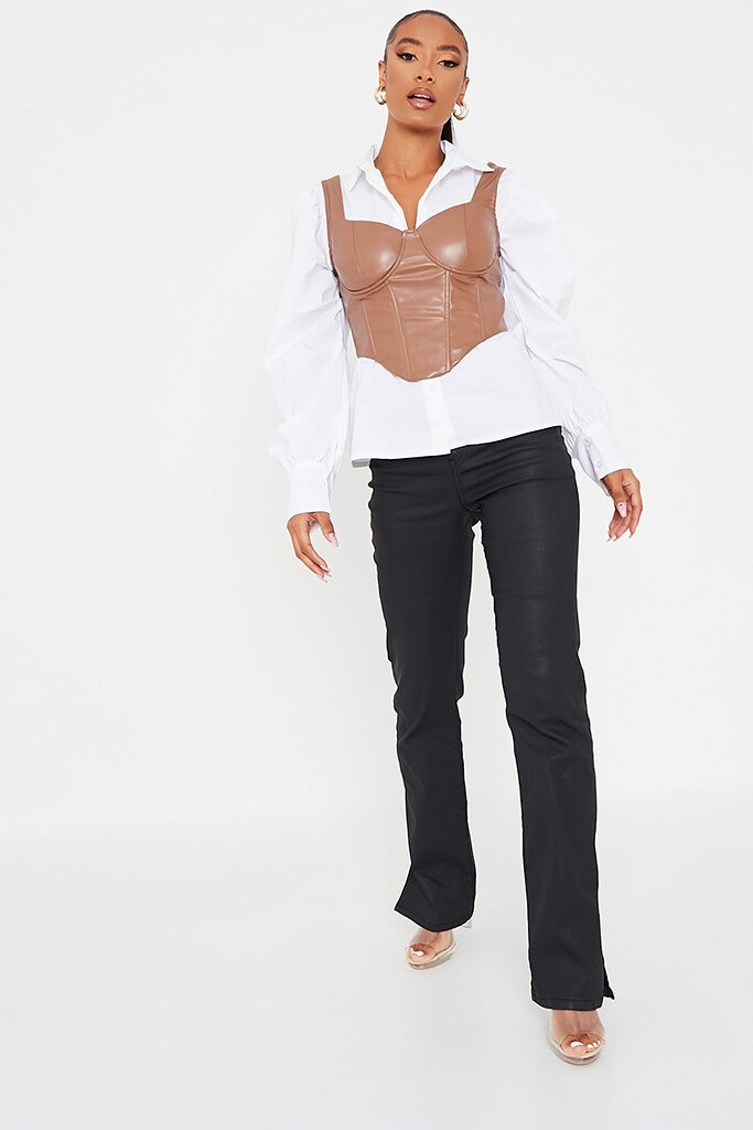 Tan Faux Leather Bust Cup Boning Detail Crop Top view 3