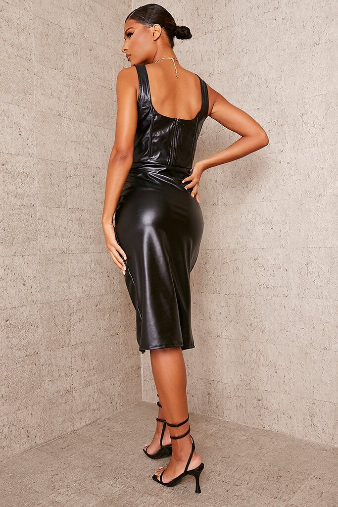 Black Faux Leather Bust Cup Boning Detail Crop Top view 4