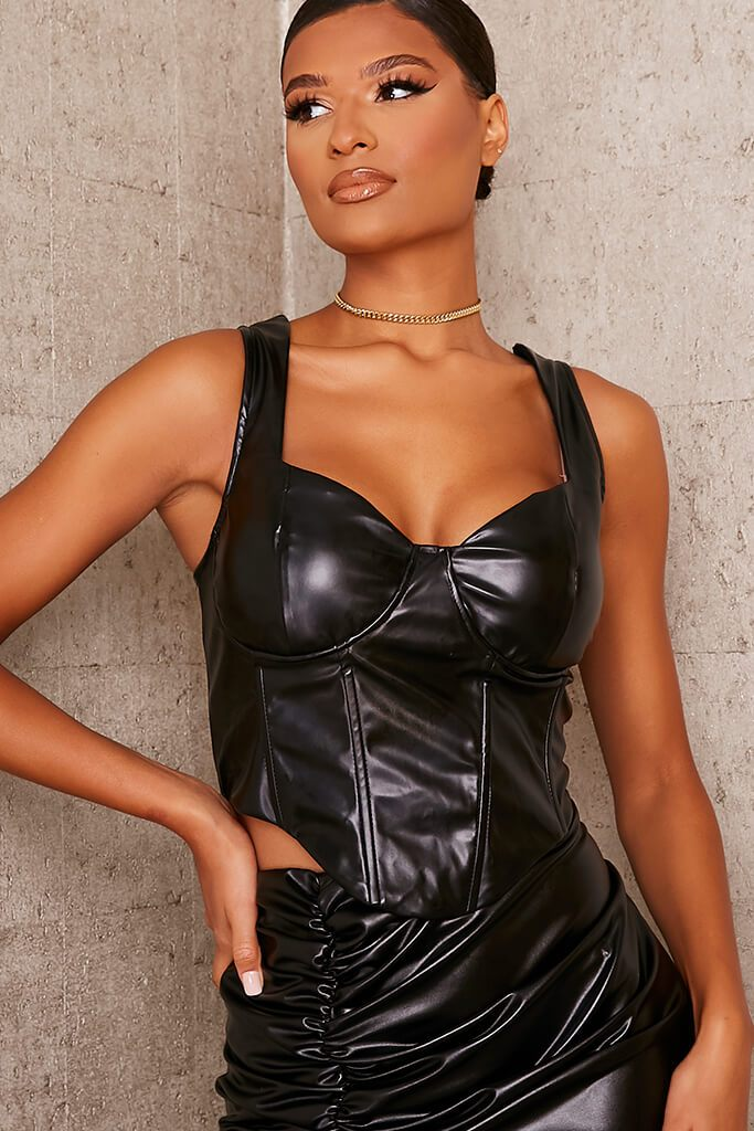 Black Faux Leather Bust Cup Boning Detail Crop Top