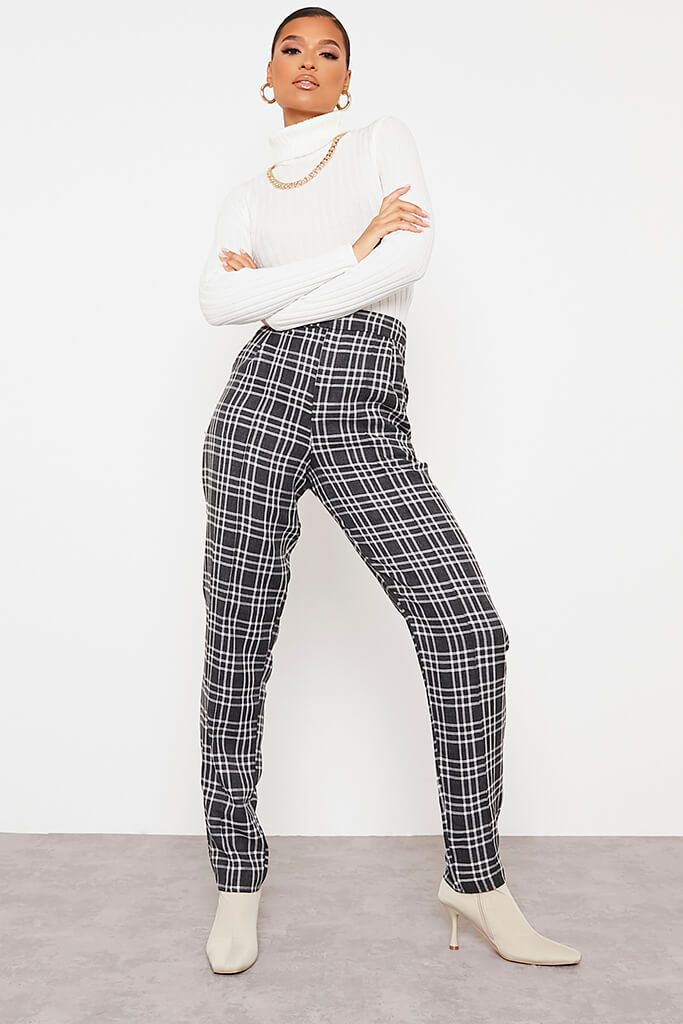 Black Tailored Check Straight Leg Trouser view main view