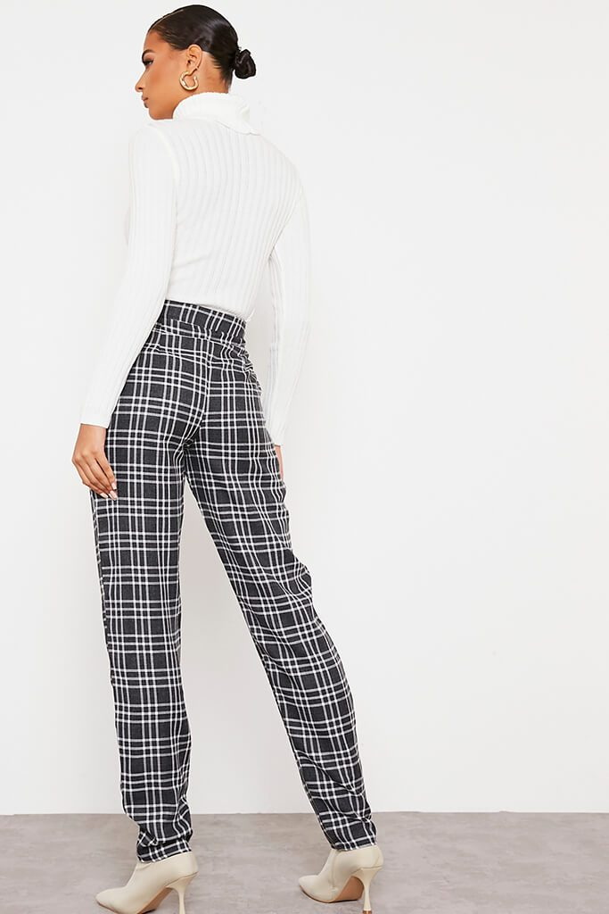 Black Tailored Check Straight Leg Trouser view 4