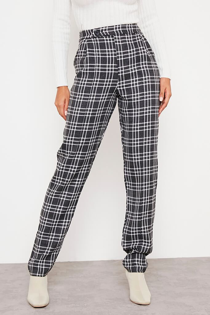 Black Tailored Check Straight Leg Trouser view 2