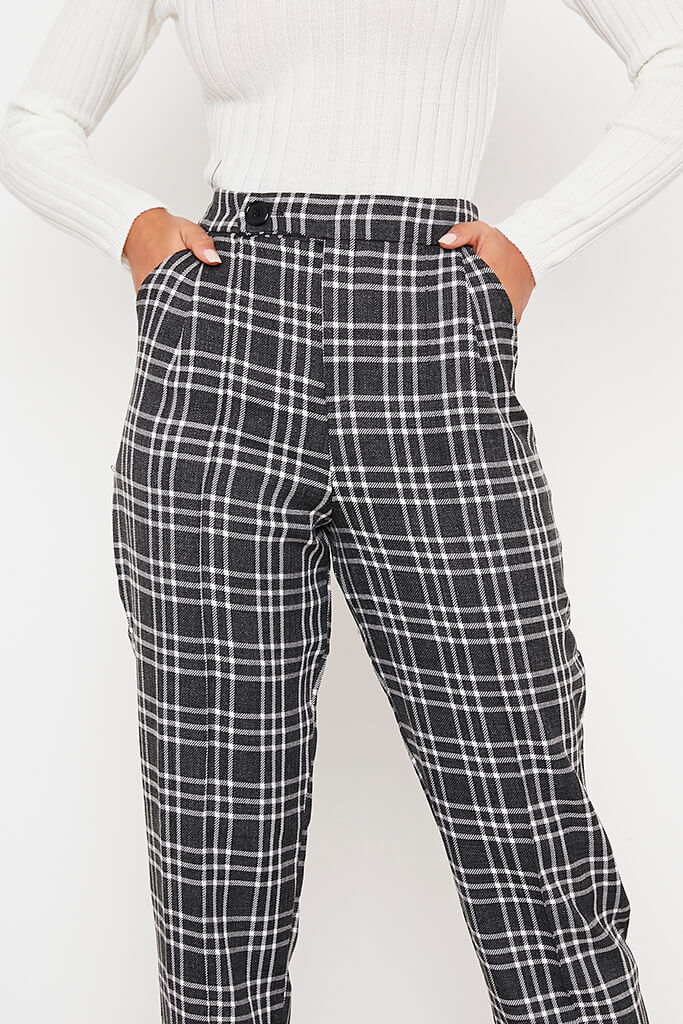 Black Tailored Check Straight Leg Trouser view 5