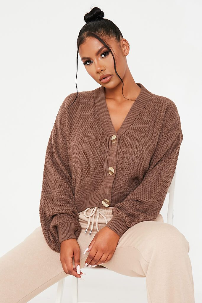 Mocha Button Through Knit Cardigan