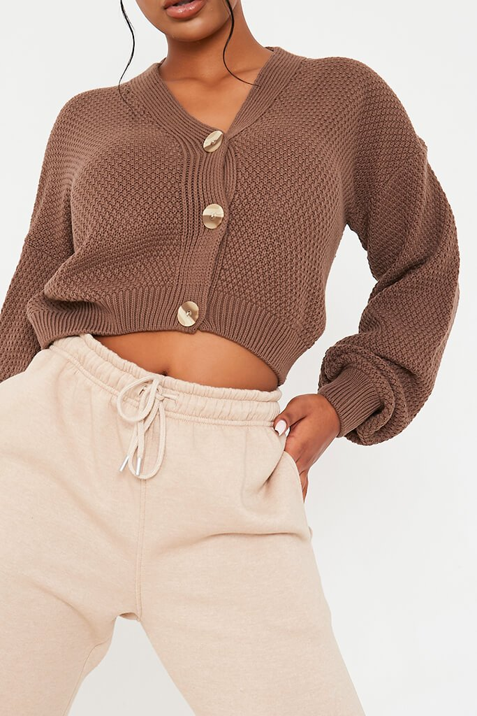 Mocha Button Through Knit Cardigan view 5