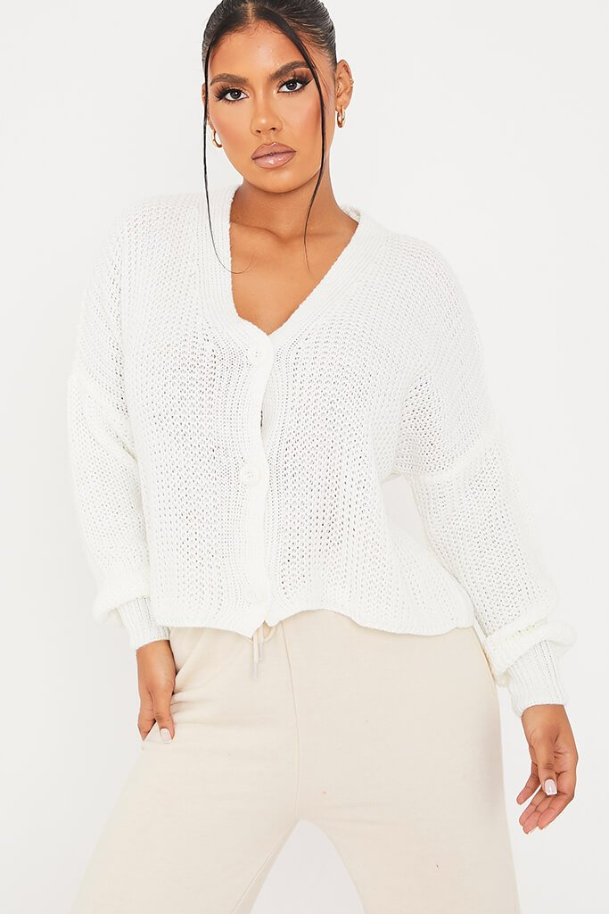 White Button Down Crop Cardigan view main view