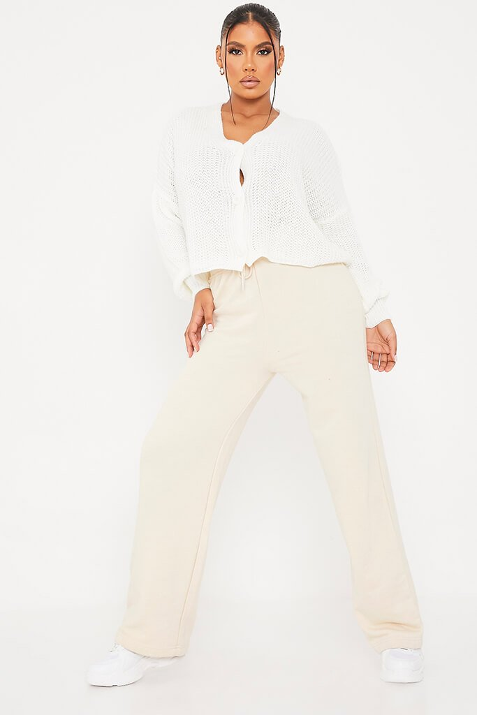 White Button Down Crop Cardigan view 2