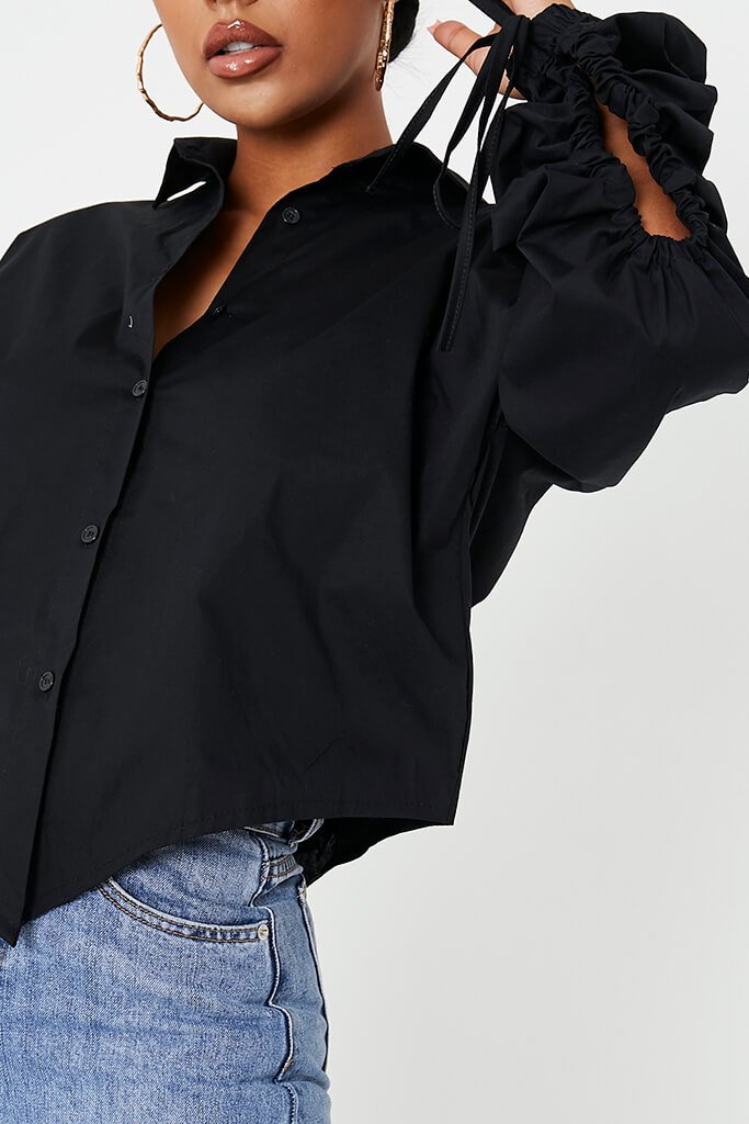 Black Poplin Gathered Sleeve Cut Out Back Shirt view 5