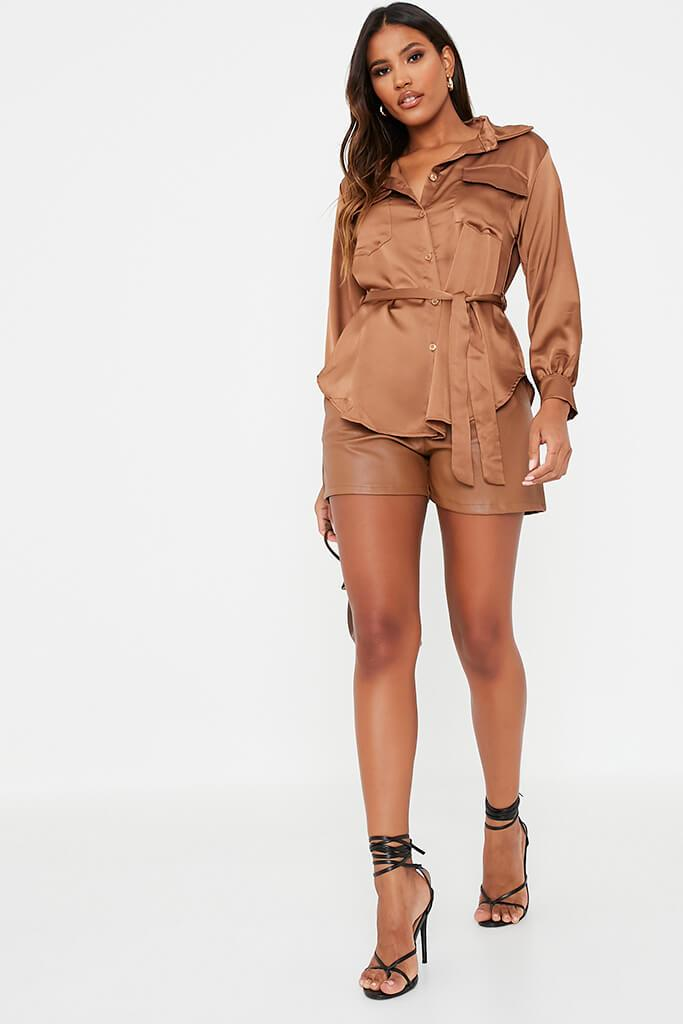 Chocolate Satin Belted Utility Shirt view 2