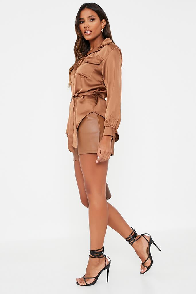 Chocolate Satin Belted Utility Shirt view 3