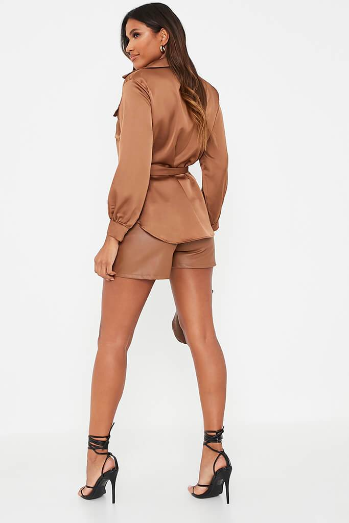 Chocolate Satin Belted Utility Shirt view 4