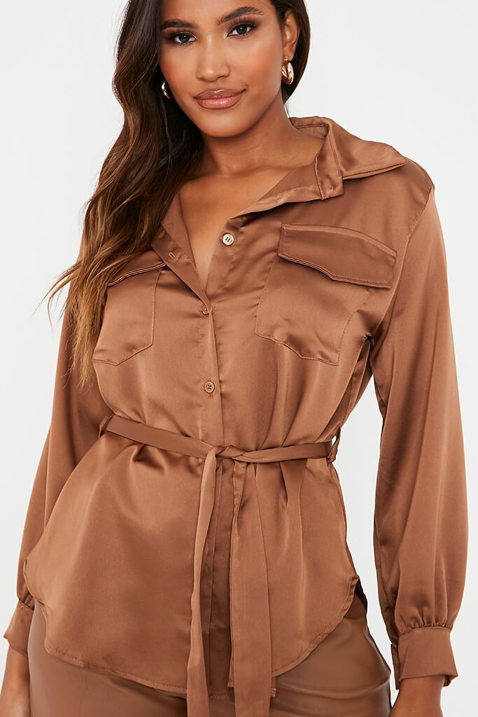 Chocolate Satin Belted Utility Shirt view 5