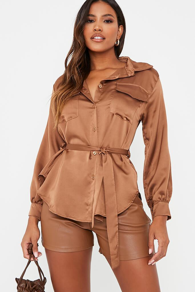 Chocolate Satin Belted Utility Shirt