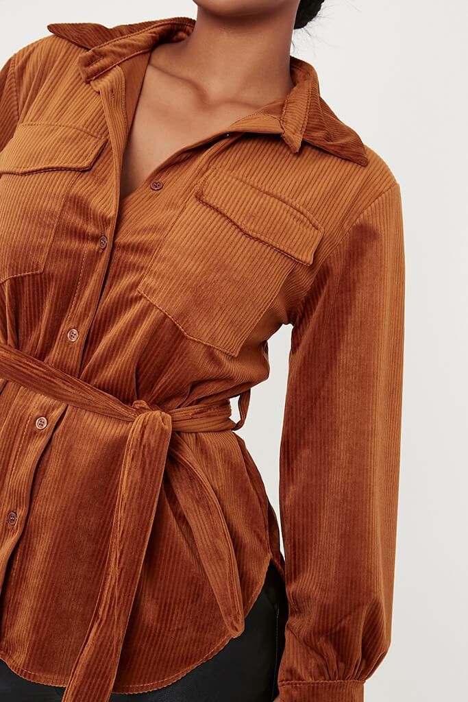 Chocolate Cord Belted Utility Shirt view 5