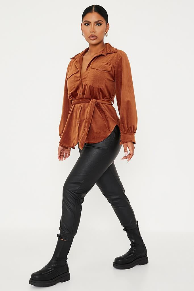 Chocolate Cord Belted Utility Shirt view 3