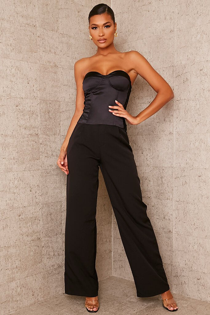 Black Tailored Wide Leg Trousers view 2