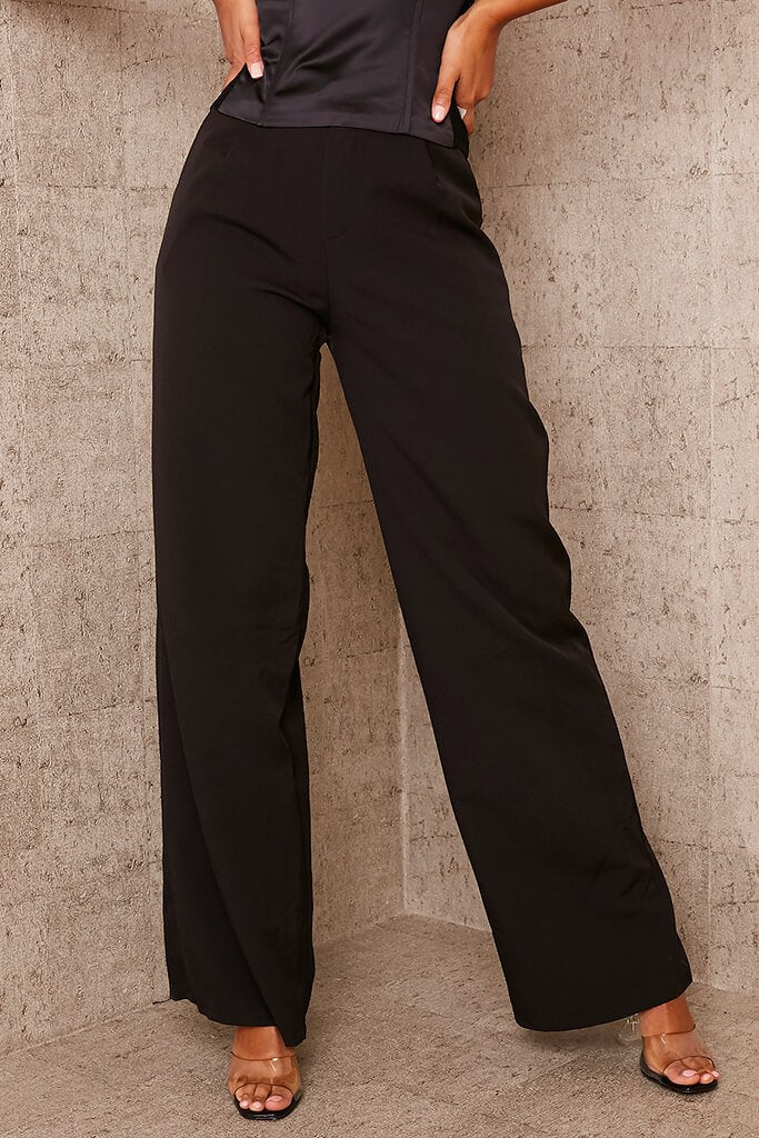 Black Tailored Wide Leg Trousers view 3