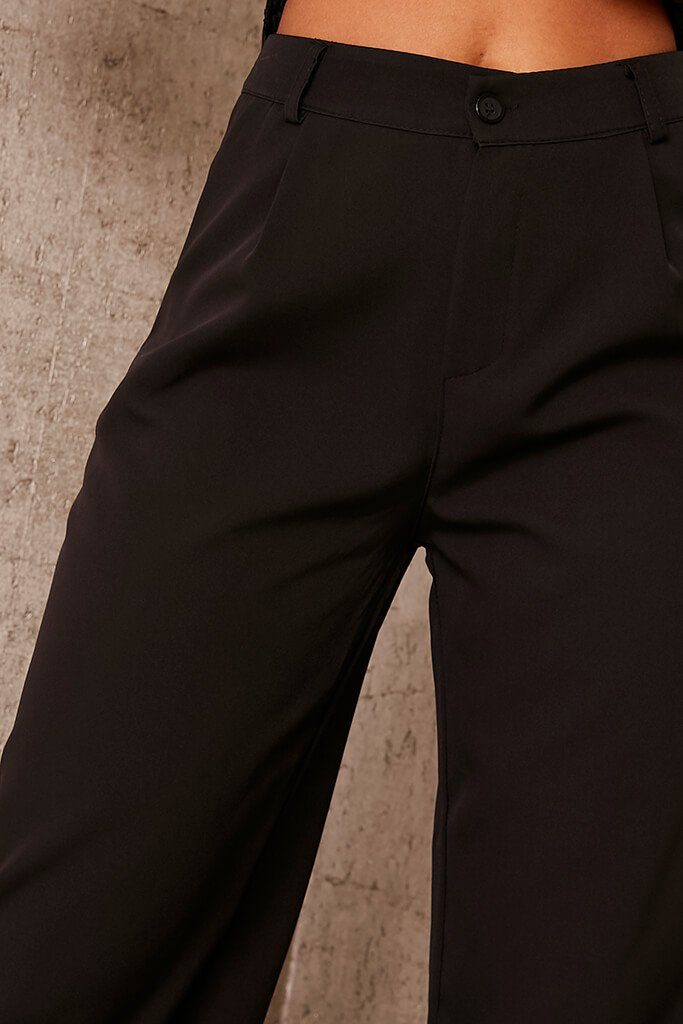 Black Tailored Wide Leg Trousers view 4