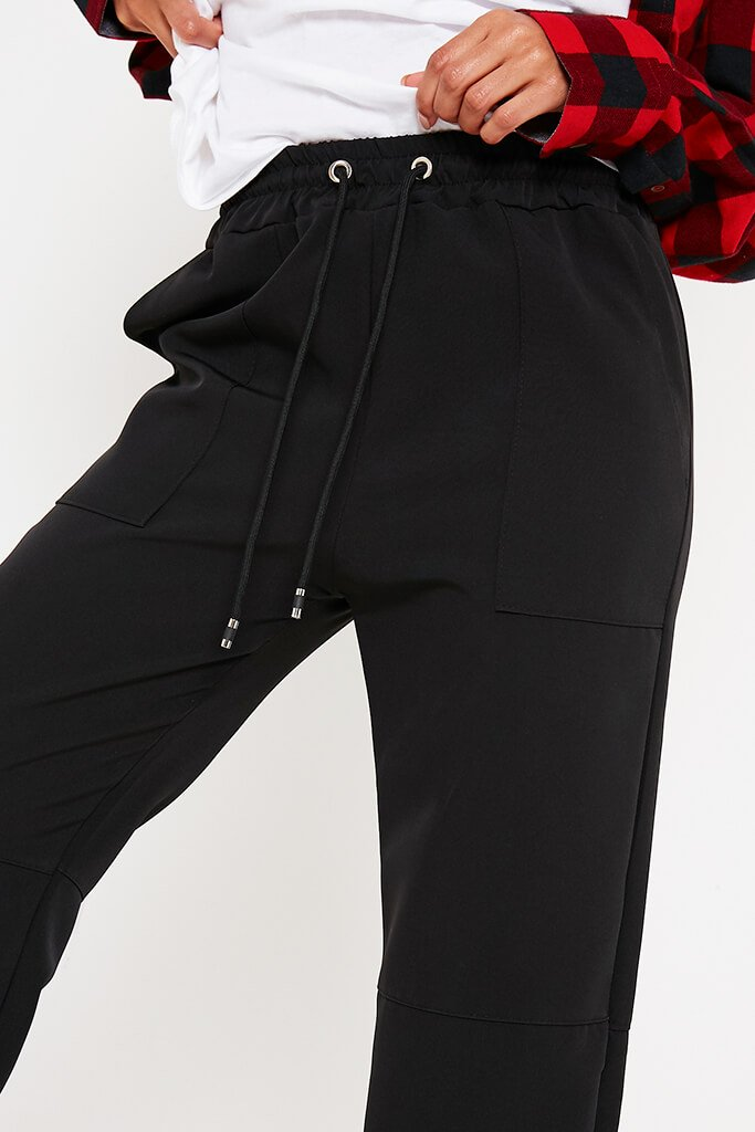 Black Woven Oversized Joggers view 5
