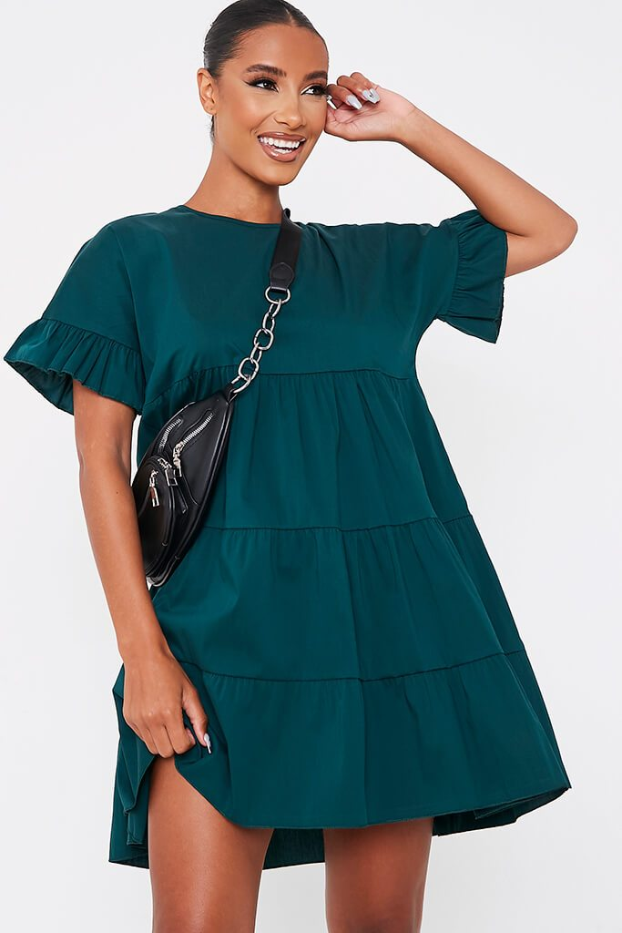 Forest Green Woven Tiered Frill Sleeve Smock Dress