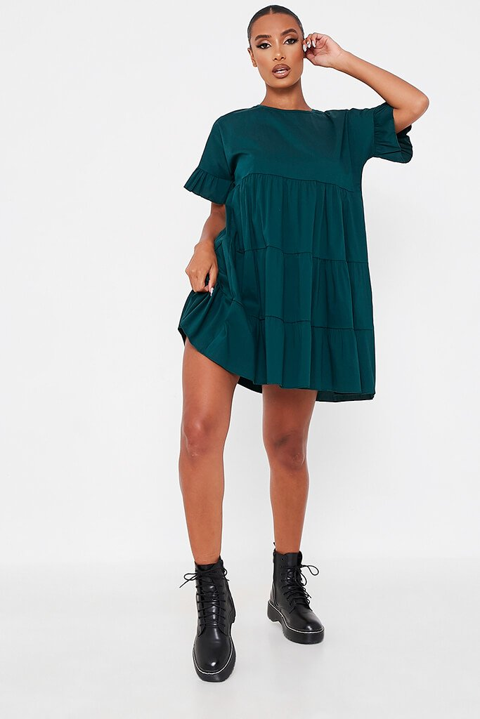Forest Green Woven Tiered Frill Sleeve Smock Dress view 2
