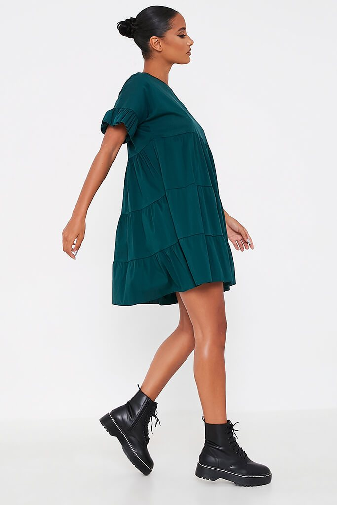 Forest Green Woven Tiered Frill Sleeve Smock Dress view 3