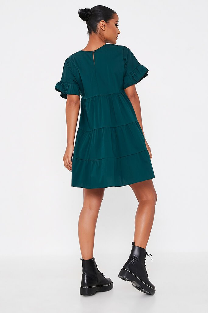 Forest Green Woven Tiered Frill Sleeve Smock Dress view 4